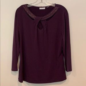 NWT New York & Co purple embellished blouse XL